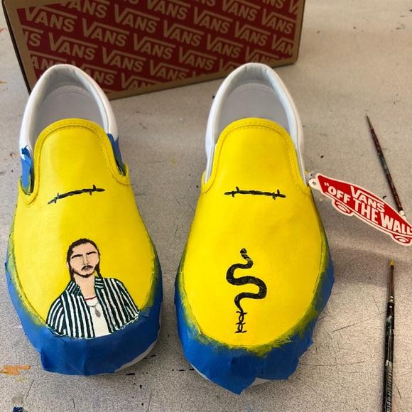110e5f4ade6b WIP hand painted yellow post malone vans